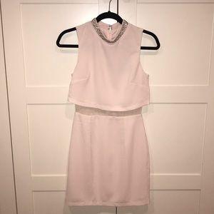NWT ASOS pink dress w/ mesh & embellished neckline